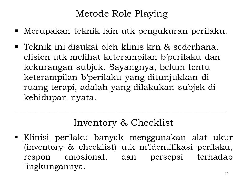 Metode Role Playing Inventory & Checklist
