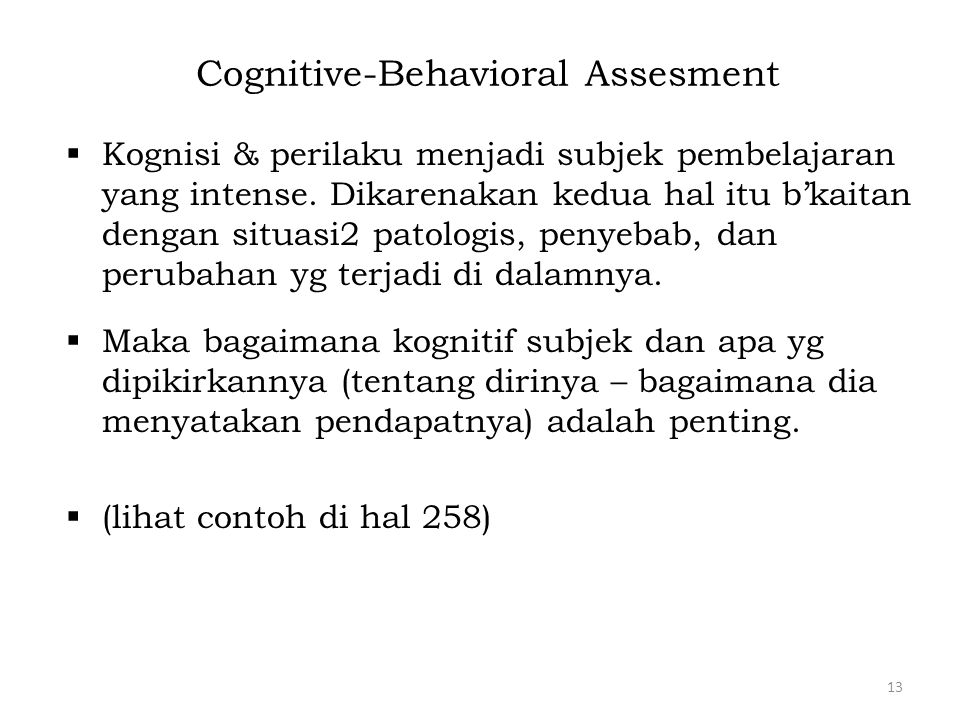Cognitive-Behavioral Assesment