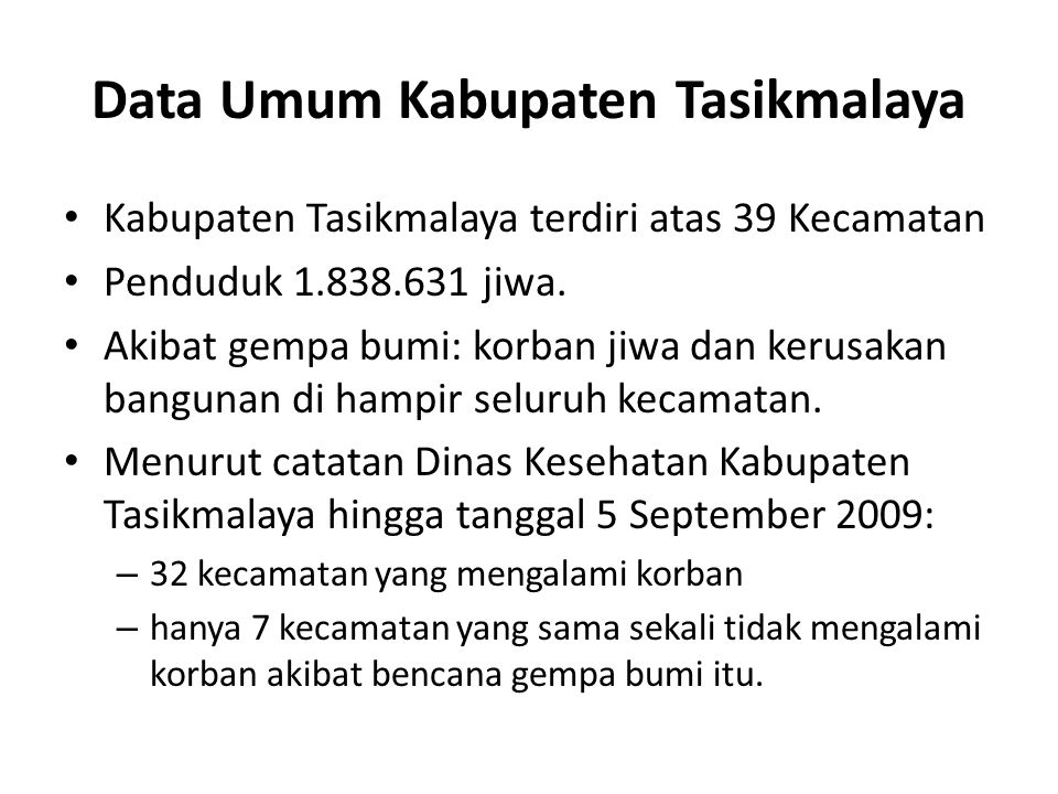 Data Umum Kabupaten Tasikmalaya
