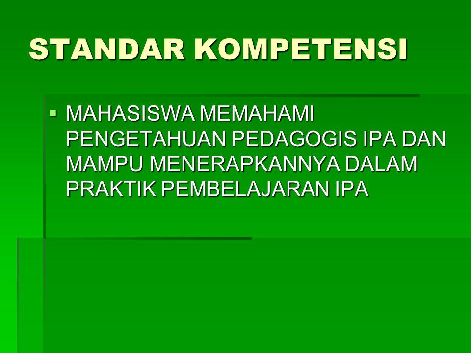 STANDAR KOMPETENSI MAHASISWA MEMAHAMI PENGETAHUAN PEDAGOGIS IPA DAN MAMPU MENERAPKANNYA DALAM PRAKTIK PEMBELAJARAN IPA.