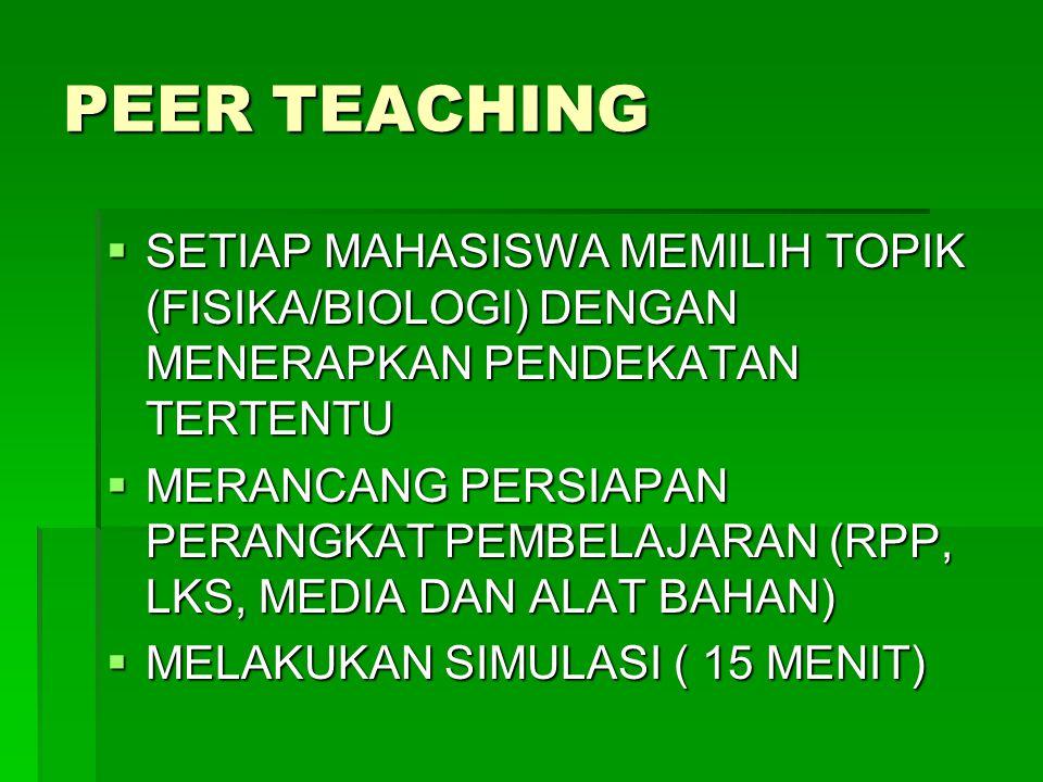 PEER TEACHING SETIAP MAHASISWA MEMILIH TOPIK (FISIKA/BIOLOGI) DENGAN MENERAPKAN PENDEKATAN TERTENTU.