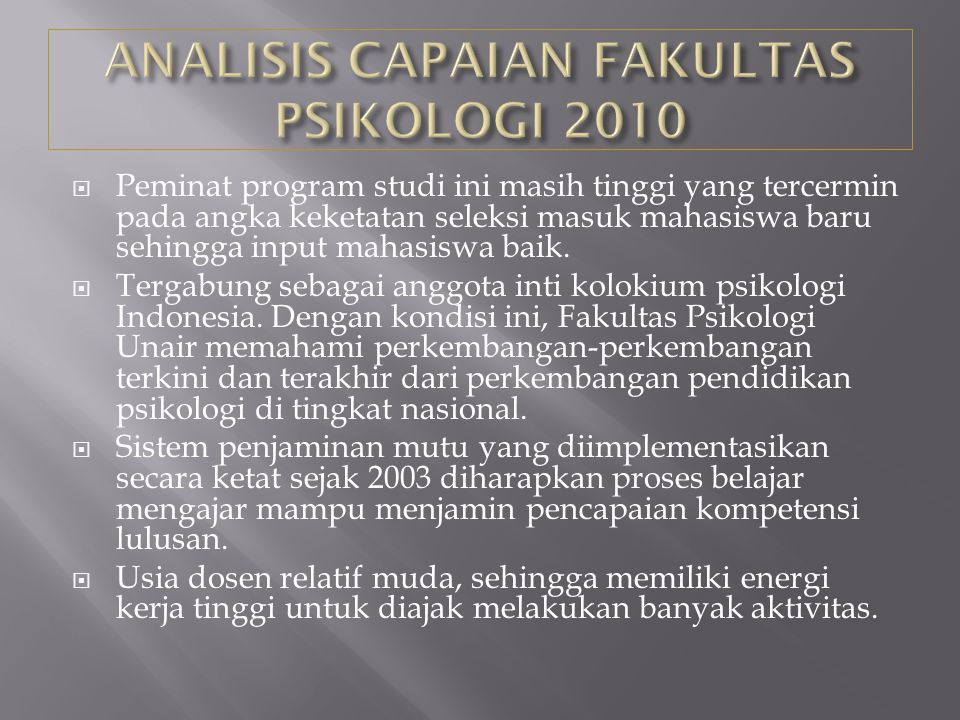 ANALISIS CAPAIAN FAKULTAS PSIKOLOGI 2010