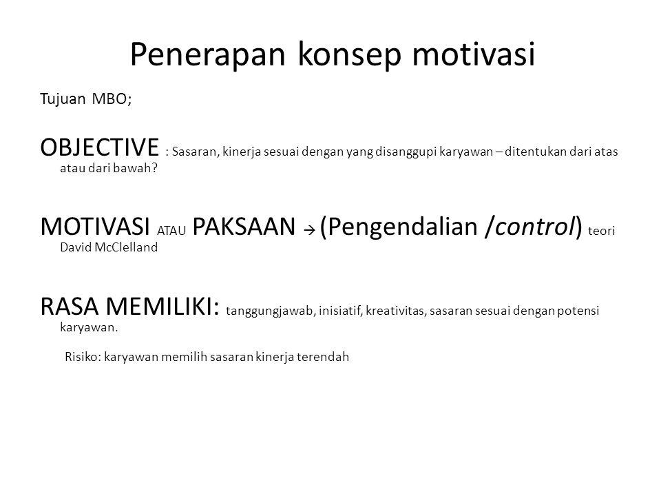 Penerapan konsep motivasi