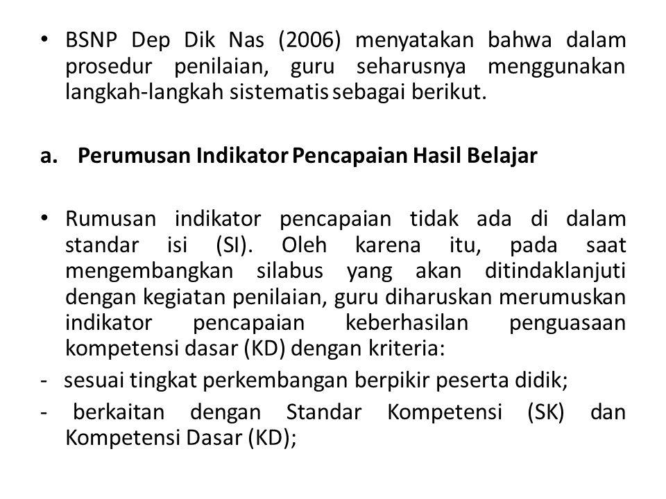 BSNP Dep Dik Nas (2006) menyatakan bahwa dalam prosedur penilaian, guru seharusnya menggunakan langkah-langkah sistematis sebagai berikut.