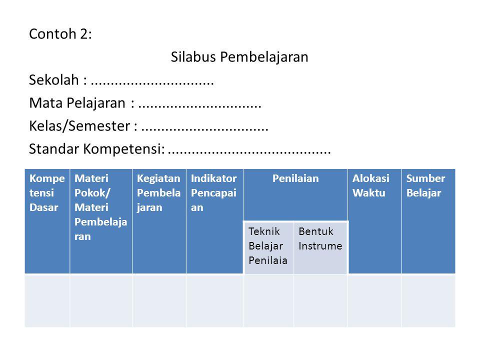 Contoh 2: Silabus Pembelajaran Sekolah :. Mata Pelajaran :