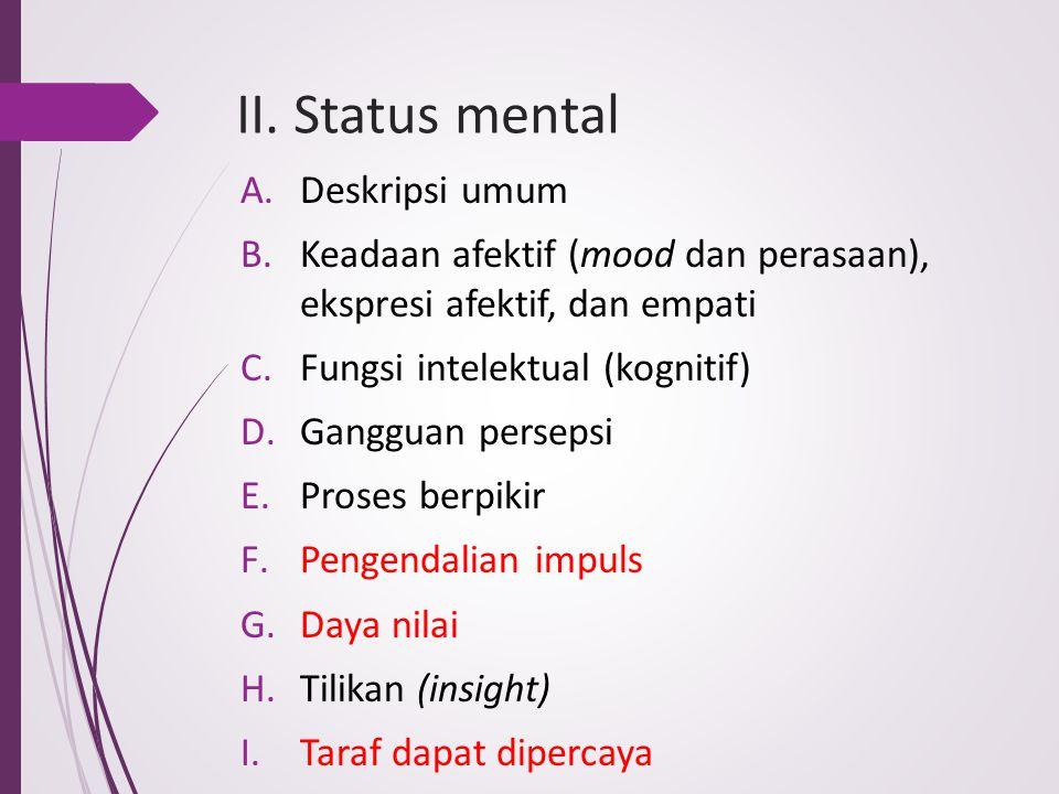 II. Status mental Deskripsi umum