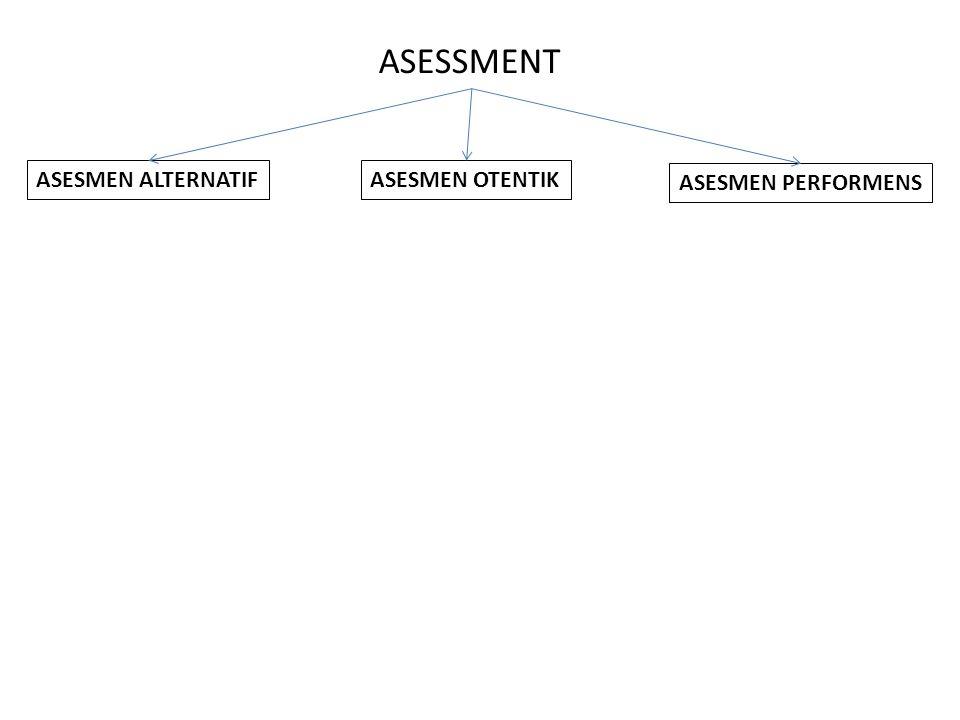 ASESSMENT ASESMEN ALTERNATIF ASESMEN OTENTIK ASESMEN PERFORMENS