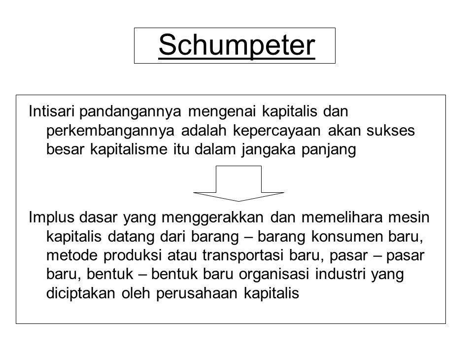 Schumpeter Intisari pandangannya mengenai kapitalis dan perkembangannya adalah kepercayaan akan sukses besar kapitalisme itu dalam jangaka panjang.