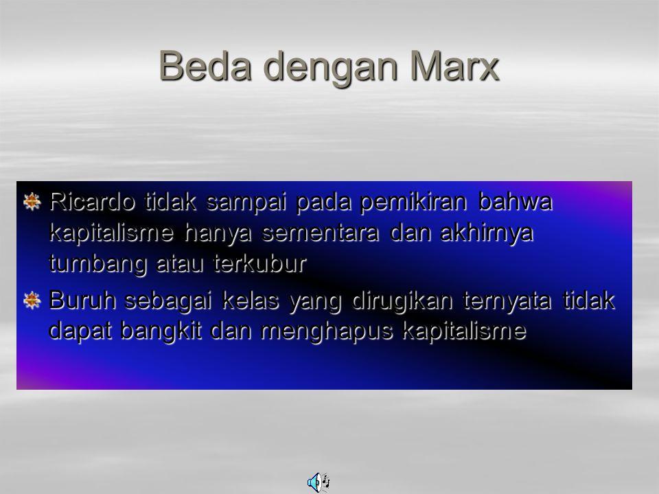 Beda dengan Marx Ricardo tidak sampai pada pemikiran bahwa kapitalisme hanya sementara dan akhirnya tumbang atau terkubur.