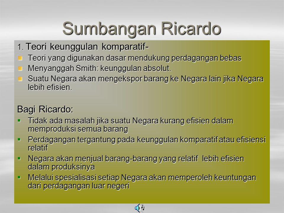 Sumbangan Ricardo Bagi Ricardo: 1. Teori keunggulan komparatif-