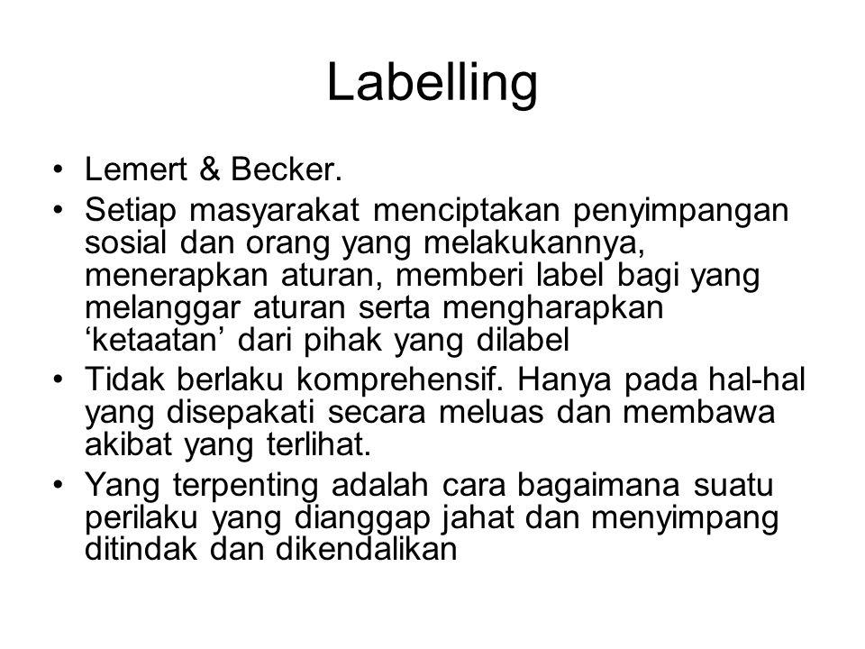 Labelling Lemert & Becker.