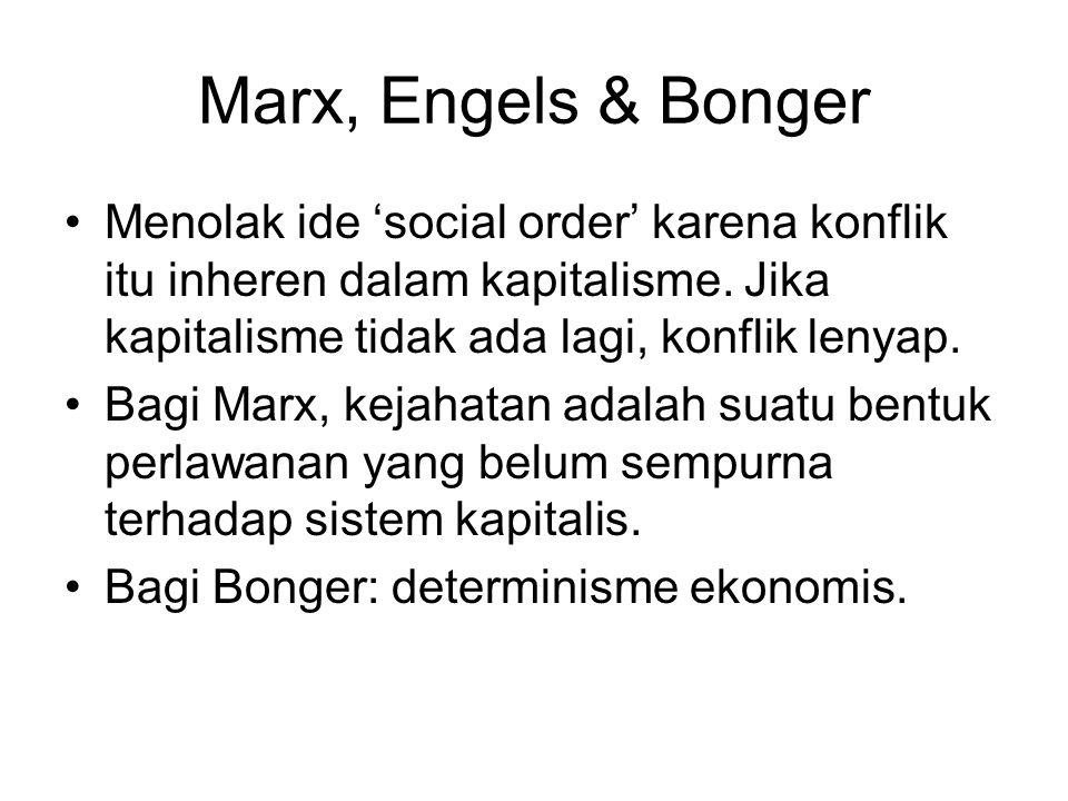 Marx, Engels & Bonger Menolak ide 'social order' karena konflik itu inheren dalam kapitalisme. Jika kapitalisme tidak ada lagi, konflik lenyap.