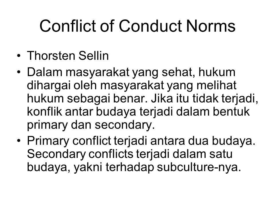 Conflict of Conduct Norms
