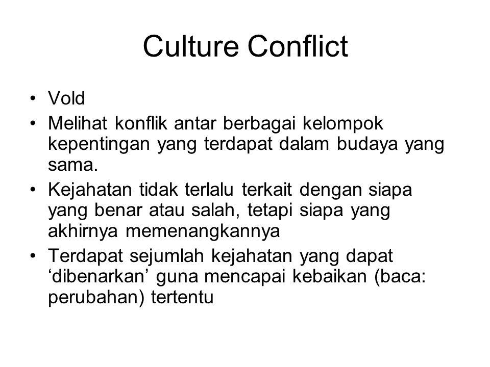 Culture Conflict Vold. Melihat konflik antar berbagai kelompok kepentingan yang terdapat dalam budaya yang sama.