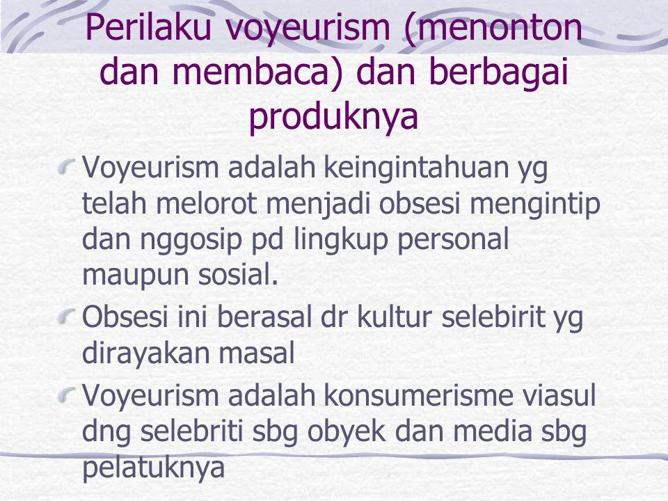 Perilaku voyeurism (menonton dan membaca) dan berbagai produknya
