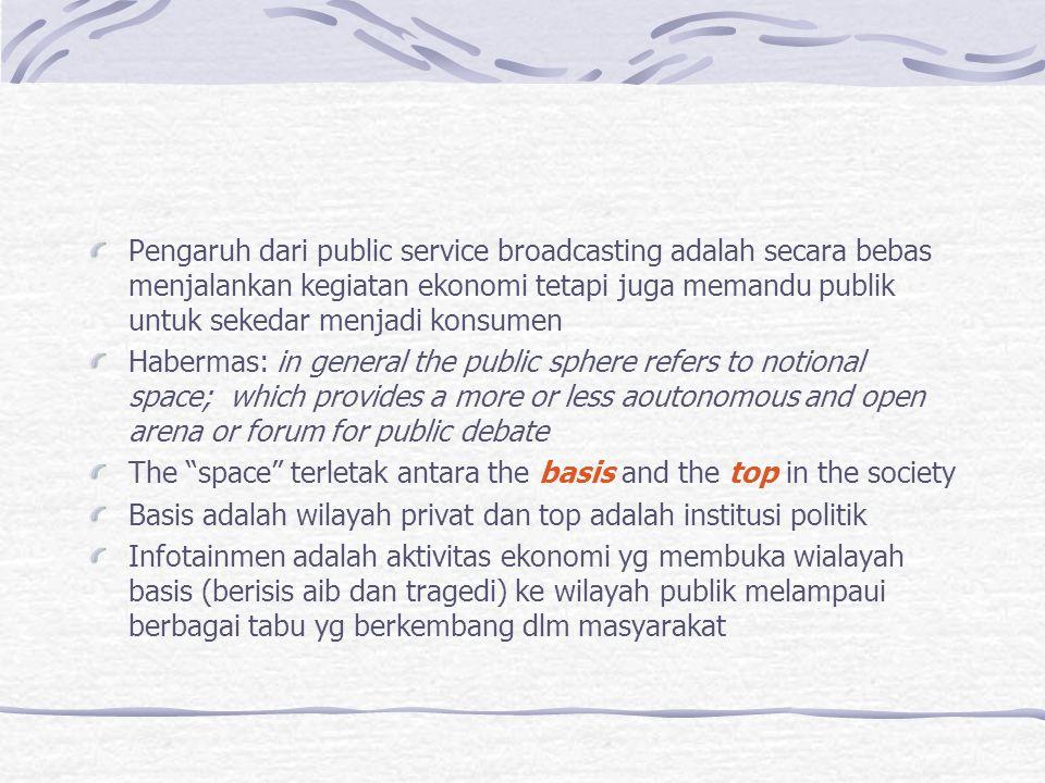 Pengaruh dari public service broadcasting adalah secara bebas menjalankan kegiatan ekonomi tetapi juga memandu publik untuk sekedar menjadi konsumen