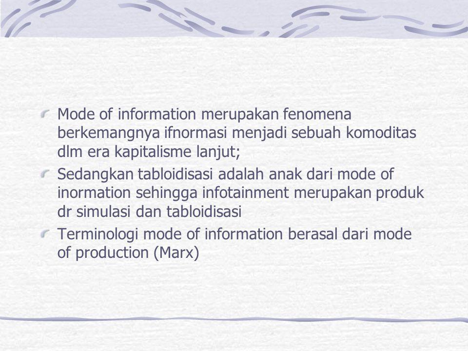 Mode of information merupakan fenomena berkemangnya ifnormasi menjadi sebuah komoditas dlm era kapitalisme lanjut;