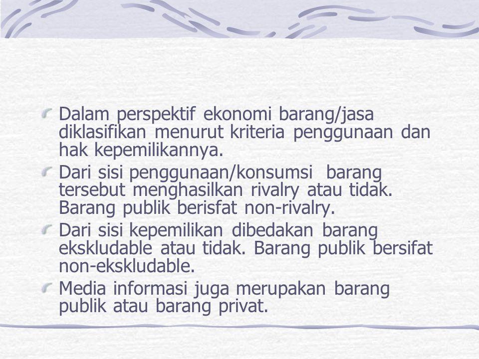 Dalam perspektif ekonomi barang/jasa diklasifikan menurut kriteria penggunaan dan hak kepemilikannya.