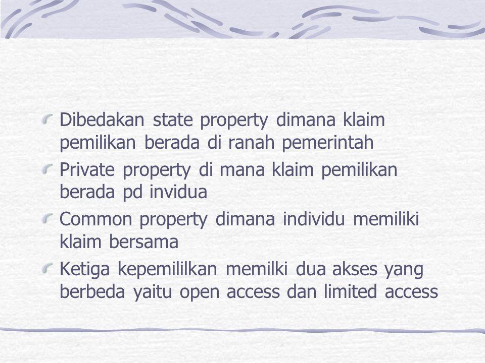 Dibedakan state property dimana klaim pemilikan berada di ranah pemerintah