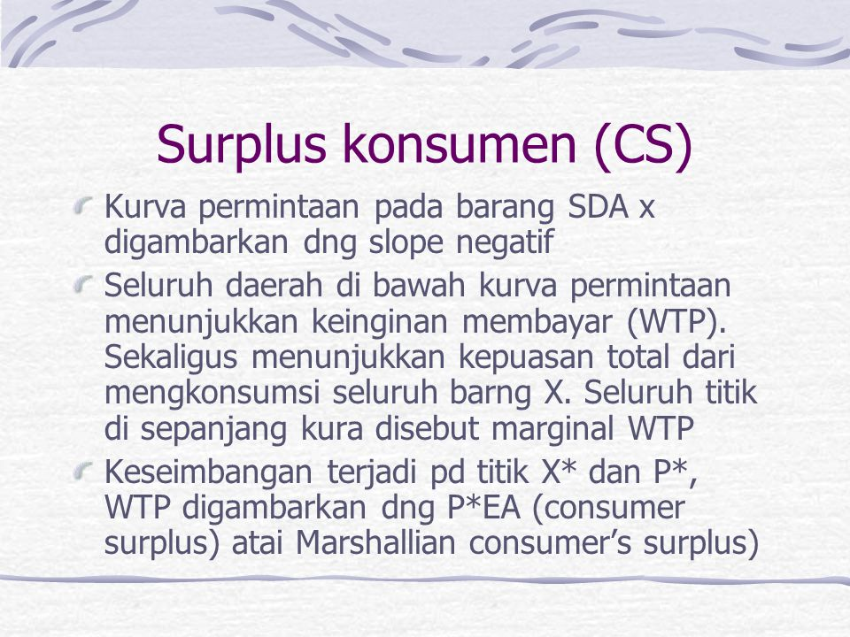 Surplus konsumen (CS) Kurva permintaan pada barang SDA x digambarkan dng slope negatif.