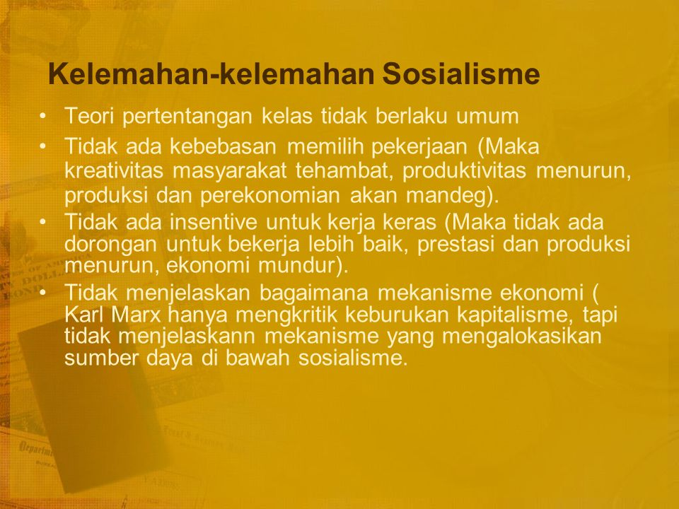 Kelemahan-kelemahan Sosialisme