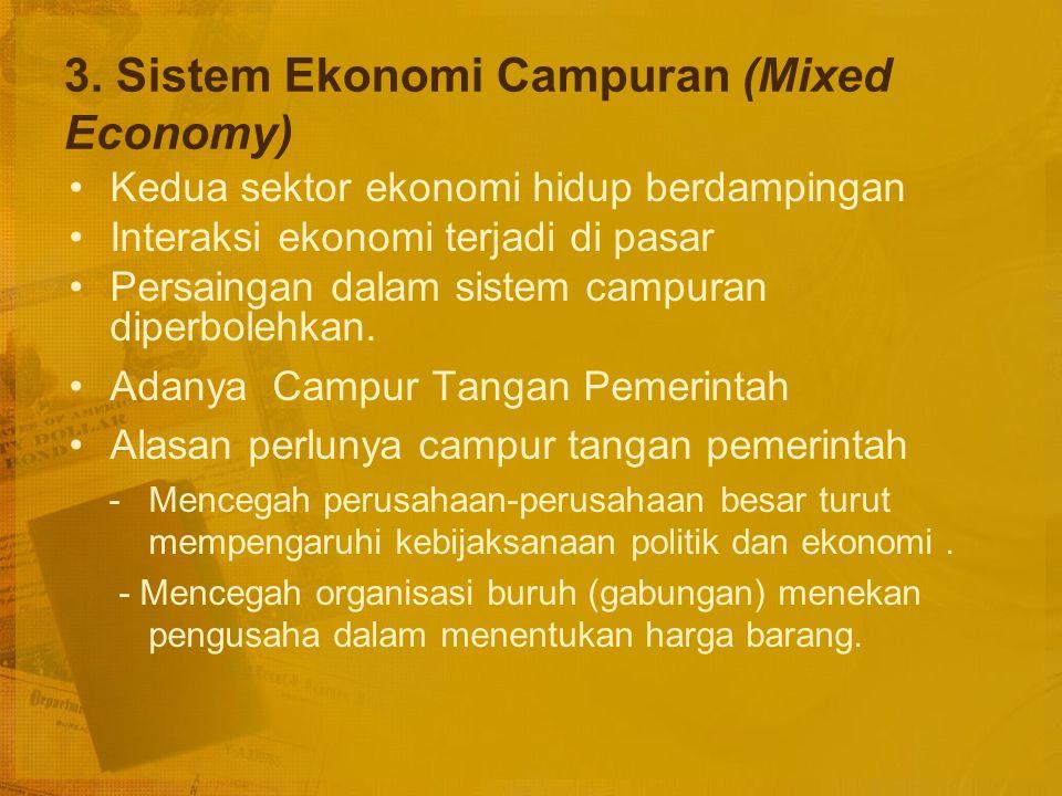 3. Sistem Ekonomi Campuran (Mixed Economy)