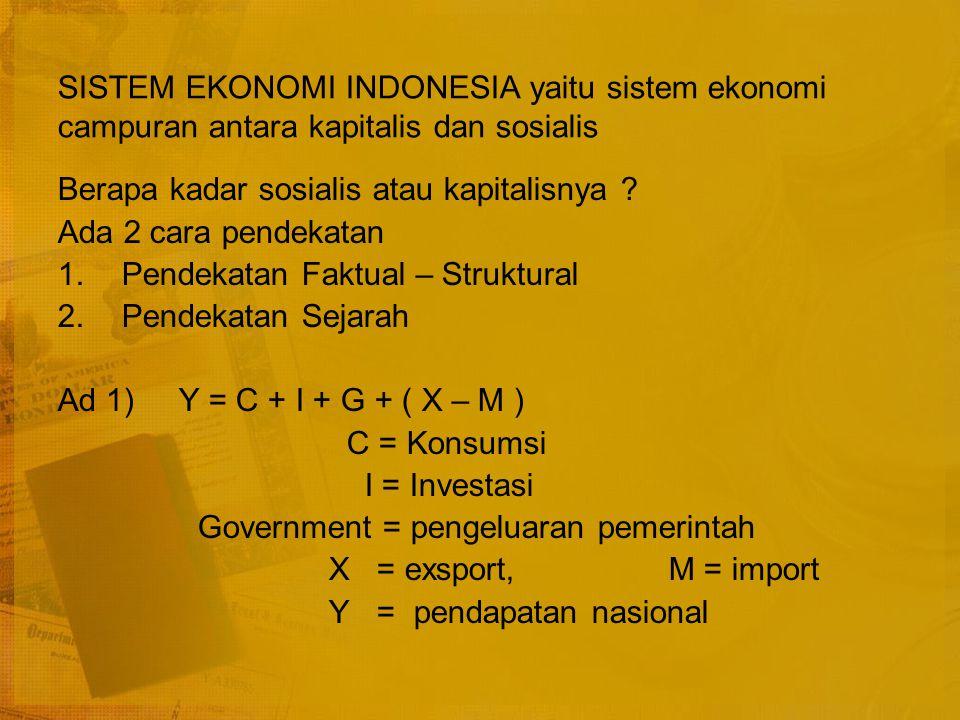 SISTEM EKONOMI INDONESIA yaitu sistem ekonomi campuran antara kapitalis dan sosialis