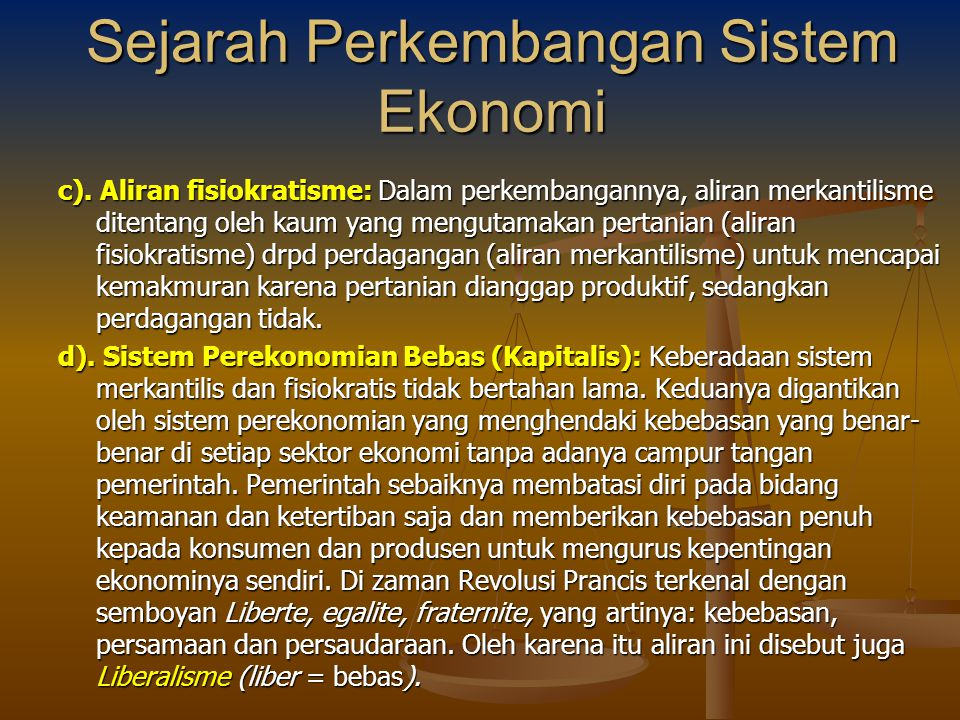 Sejarah Perkembangan Sistem Ekonomi
