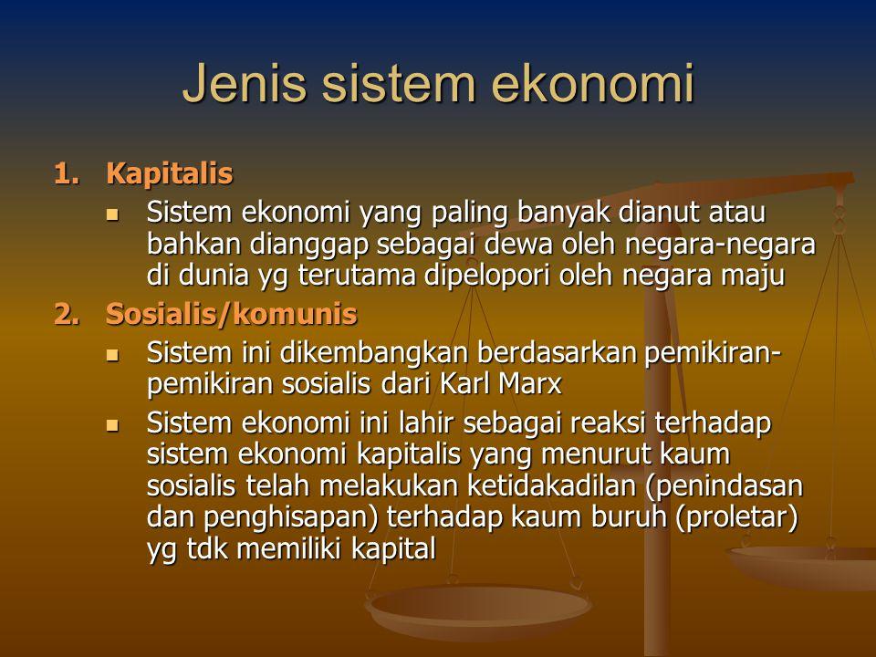 Jenis sistem ekonomi 1. Kapitalis