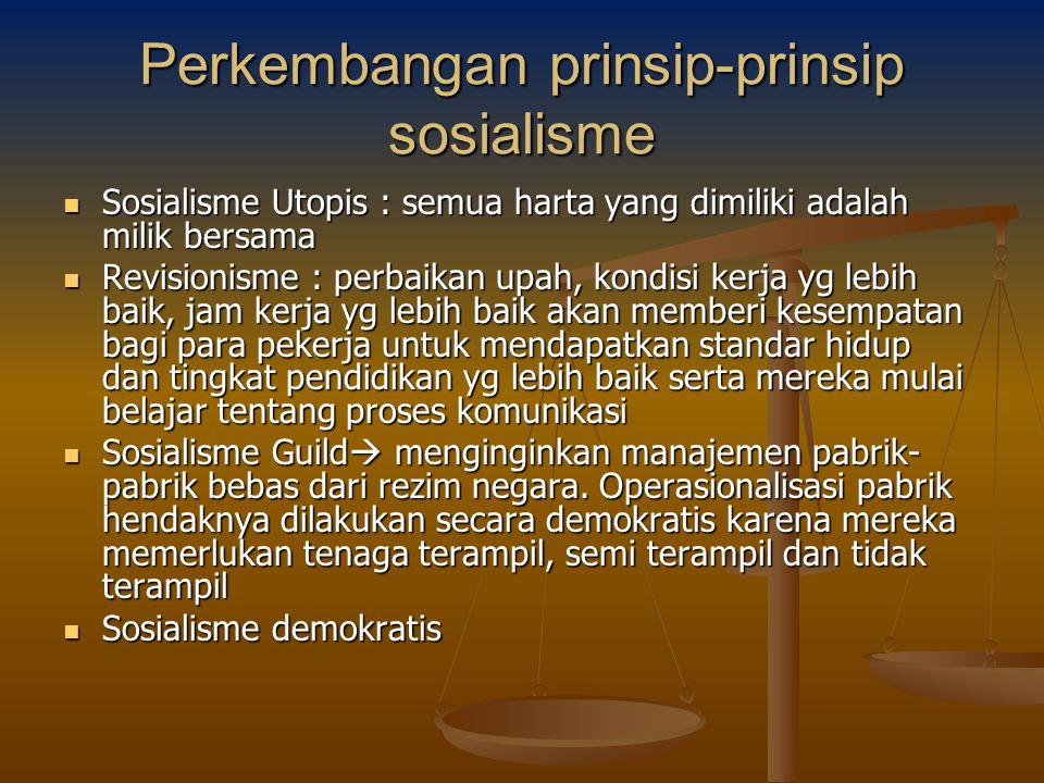 Perkembangan prinsip-prinsip sosialisme