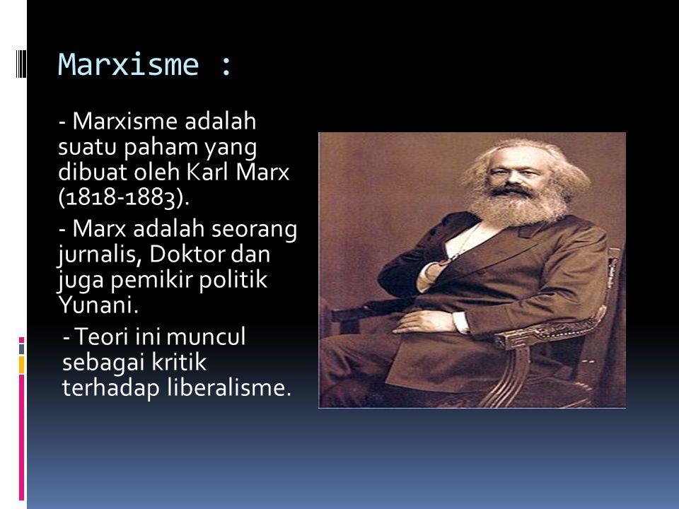 Marxisme : - Marxisme adalah suatu paham yang dibuat oleh Karl Marx (1818-1883).