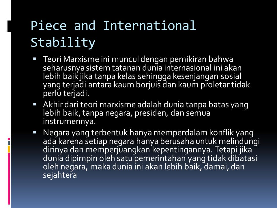 Piece and International Stability