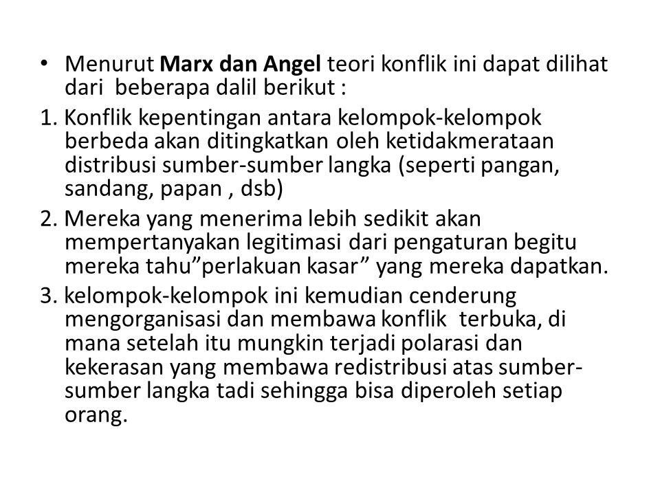 Menurut Marx dan Angel teori konflik ini dapat dilihat dari beberapa dalil berikut :