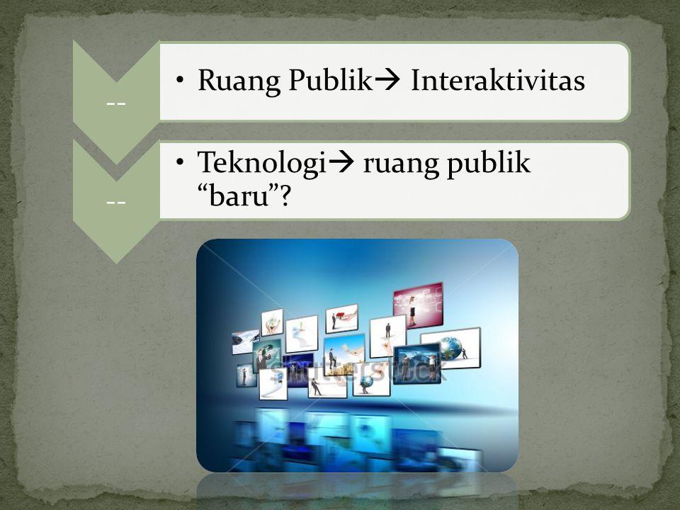 Ruang Publik Interaktivitas Teknologi ruang publik baru