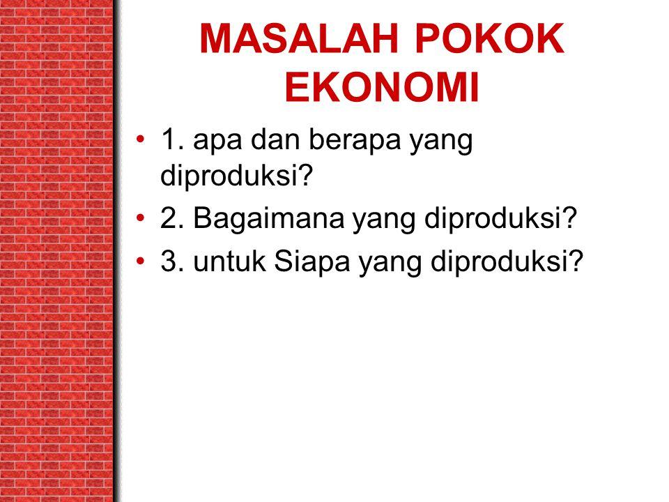 MASALAH POKOK EKONOMI 1. apa dan berapa yang diproduksi