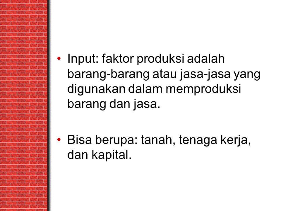 Input: faktor produksi adalah barang-barang atau jasa-jasa yang digunakan dalam memproduksi barang dan jasa.