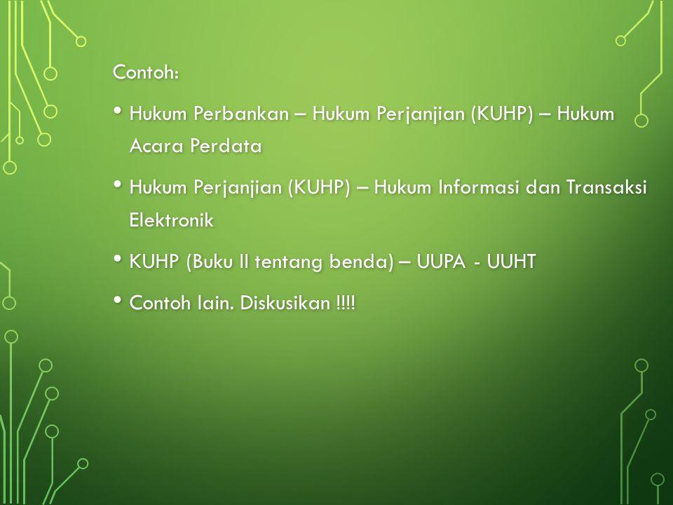 Contoh: Hukum Perbankan – Hukum Perjanjian (KUHP) – Hukum Acara Perdata. Hukum Perjanjian (KUHP) – Hukum Informasi dan Transaksi Elektronik.