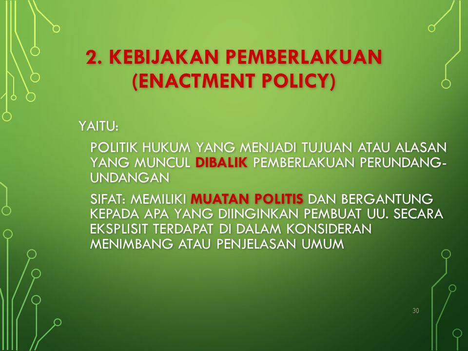 2. KEBIJAKAN PEMBERLAKUAN (ENACTMENT POLICY)