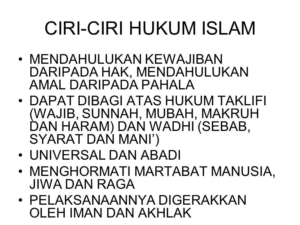 CIRI-CIRI HUKUM ISLAM MENDAHULUKAN KEWAJIBAN DARIPADA HAK, MENDAHULUKAN AMAL DARIPADA PAHALA.