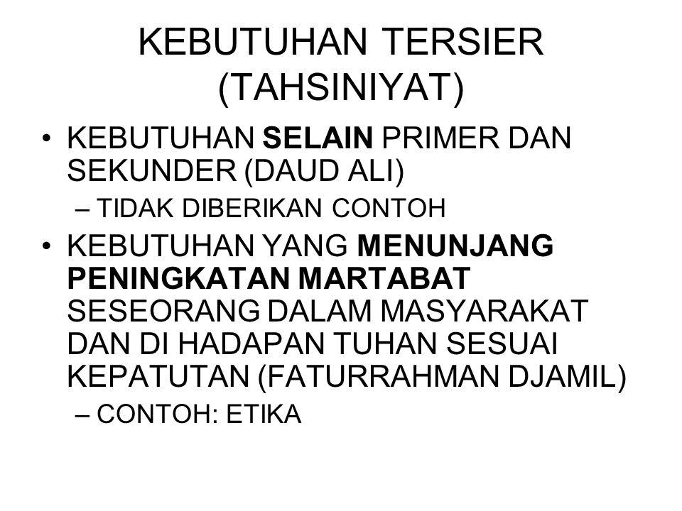 KEBUTUHAN TERSIER (TAHSINIYAT)
