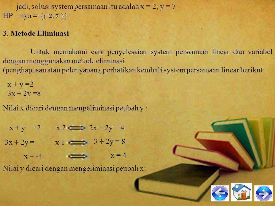 jadi, solusi system persamaan itu adalah x = 2, y = 7 HP – nya =