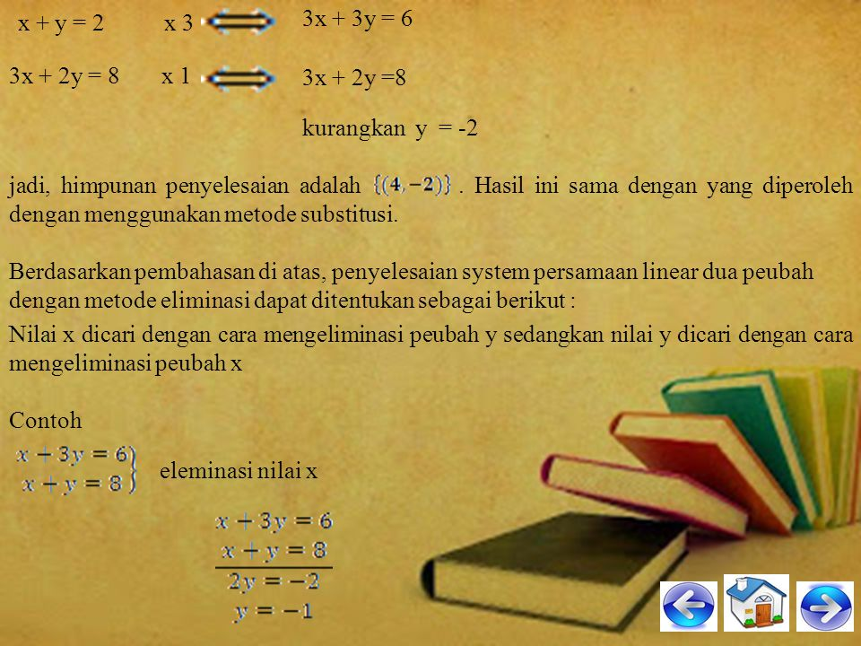 3x + 3y = 6 3x + 2y = 8 x 1. x + y = 2 x 3. 3x + 2y =8. kurangkan y = -2.