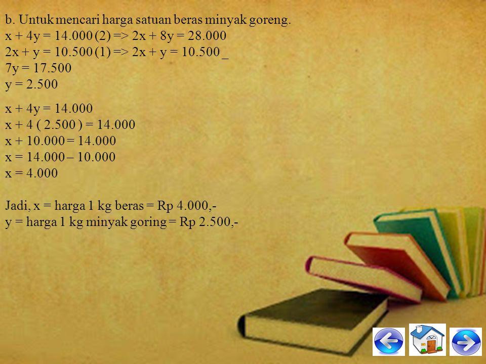 b. Untuk mencari harga satuan beras minyak goreng. x + 4y = 14