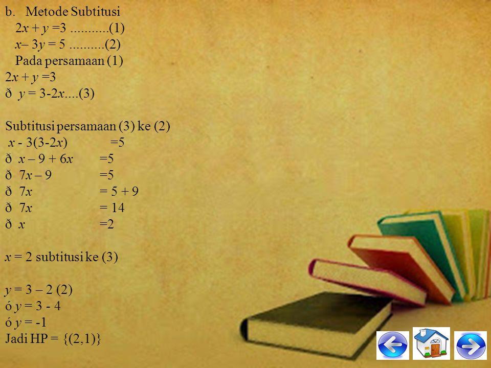 b. Metode Subtitusi 2x + y =3 ...........(1) x– 3y = 5 ..........(2) Pada persamaan (1)