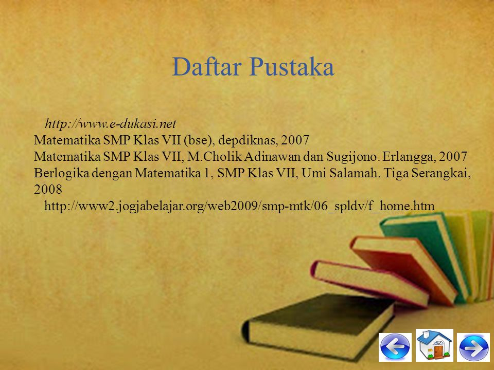 Daftar Pustaka Matematika SMP Klas VII (bse), depdiknas, 2007