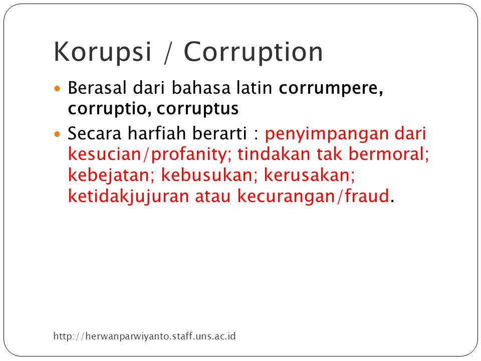 Korupsi / Corruption Berasal dari bahasa latin corrumpere, corruptio, corruptus.
