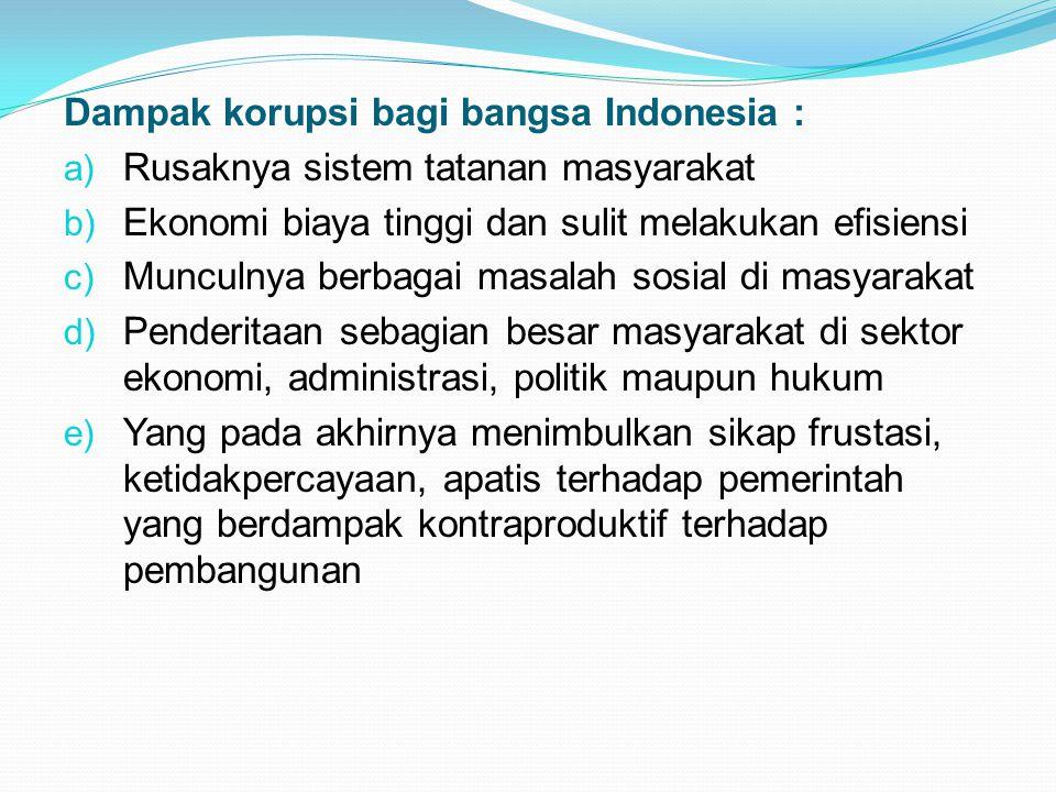 Dampak korupsi bagi bangsa Indonesia :