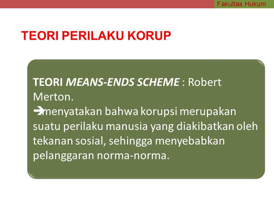 TEORI PERILAKU KORUP TEORI MEANS-ENDS SCHEME : Robert Merton.