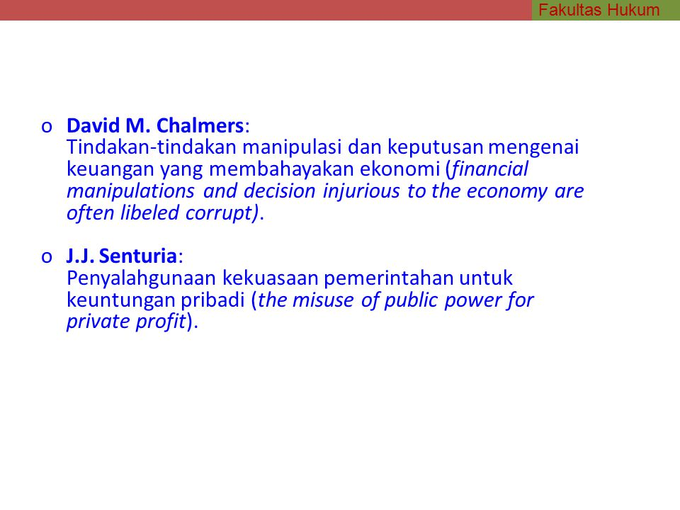 David M. Chalmers:
