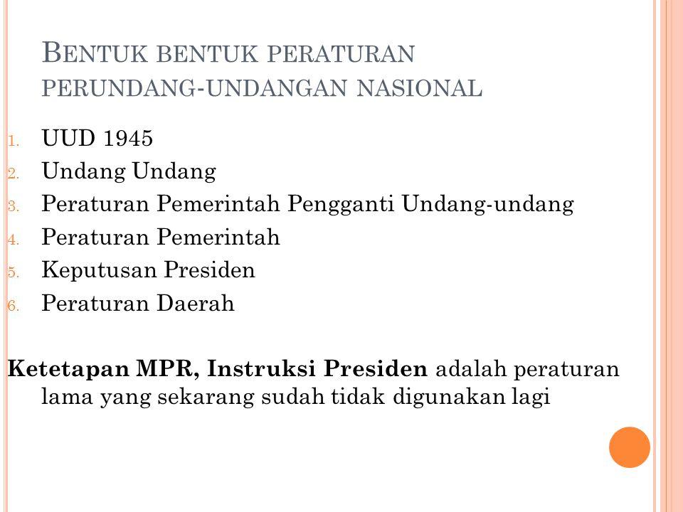 Bentuk bentuk peraturan perundang-undangan nasional